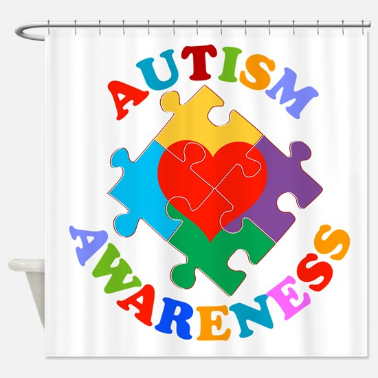 Autism Awareness Heart Shower Curtain