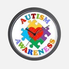 Autism Awareness Heart Wall Clock