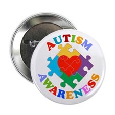 "Autism Awareness Heart 2.25"" Button"