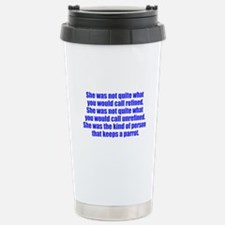keeps parrot text only Travel Mug