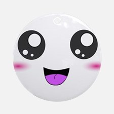 Happy Kawaii Smiley Face Ornament (Round)