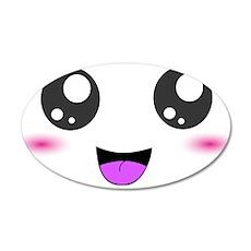 Happy Kawaii Smiley Face 22x14 Oval Wall Peel