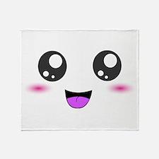 Happy Kawaii Smiley Face Throw Blanket