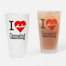 I Love Canoeing Drinking Glass