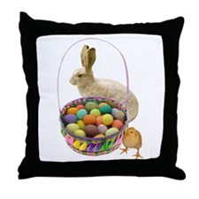 Rabbit Chick Easter Basket Throw Pillow