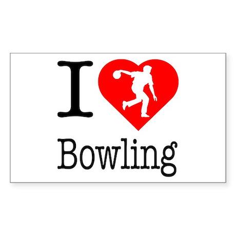 I Love Bowling Sticker (Rectangle)