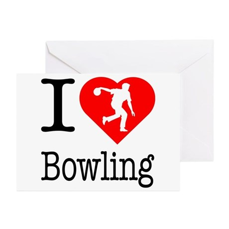 I Love Bowling Greeting Cards (Pk of 20)