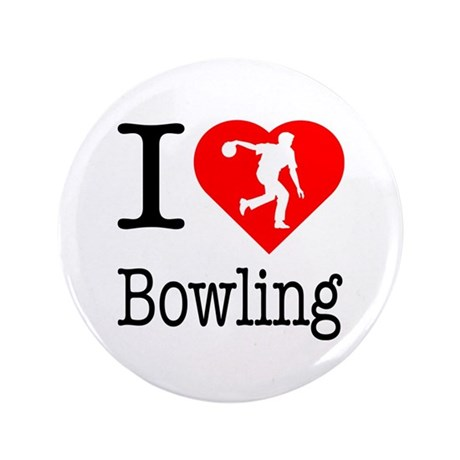 """I Love Bowling 3.5"""" Button (100 pack)"""