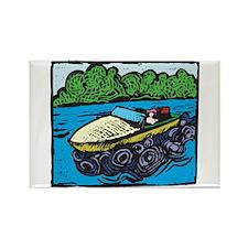 Motor Boat Rectangle Magnet
