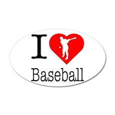 I Love Baseball 22x14 Oval Wall Peel