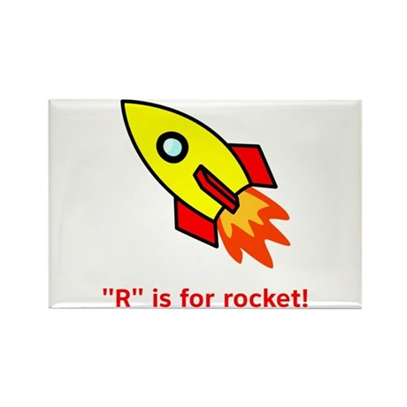 R is for Rocket Rectangle Magnet (100 pack)