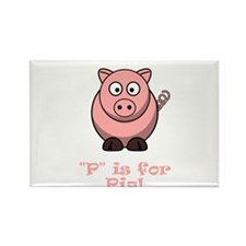 P is for Pig! Rectangle Magnet (10 pack)