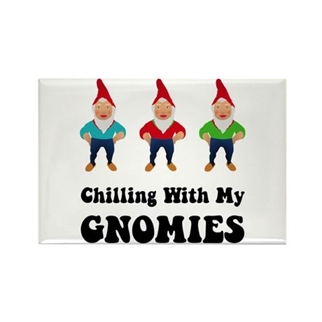Chilling With My Gnomies Rectangle Magnet (100 pac