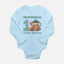 First Birthday Monkey Long Sleeve Infant Bodysuit