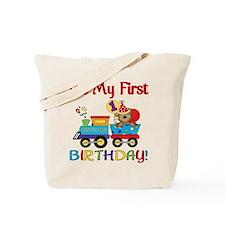 First Birthday Bear Train Tote Bag