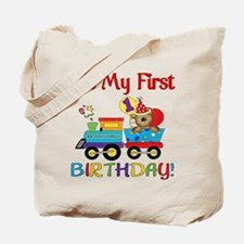 First Birthday Bear Train Tote Bag