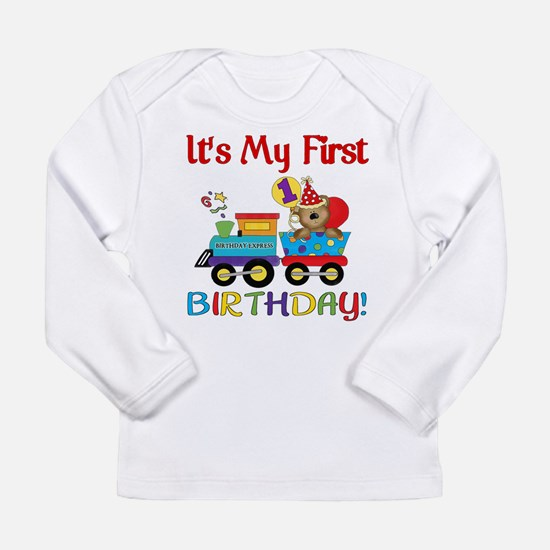First Birthday Bear Train Long Sleeve Infant T-Shi