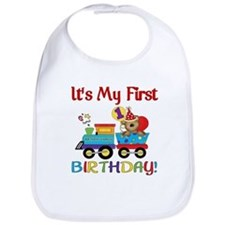 First Birthday Bear Train Bib