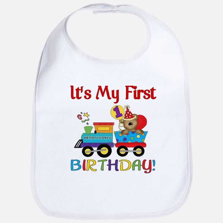 First Birthday Bear Train Bib