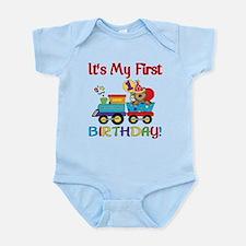 First Birthday Bear Train Infant Bodysuit