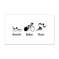 Swim Bike Run 22x14 Wall Peel