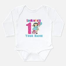 First Birthday Girl Long Sleeve Infant Bodysuit