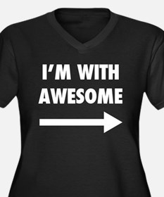 I'm With Awesome Women's Plus Size V-Neck Dark T-S