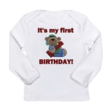 First Birthday Bear Boy Long Sleeve Infant T-Shirt