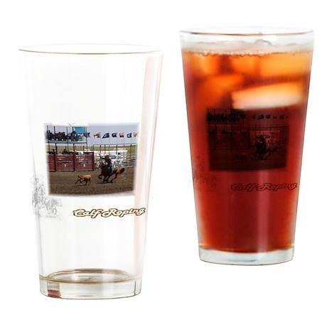 Calf Roping Drinking Glass