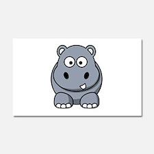 Cartoon Hippopotamus Car Magnet 20 x 12