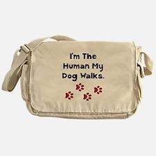 Human Dog Walks Messenger Bag