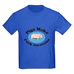 Pigs Make Pork Awesome Kids Dark T-Shirt