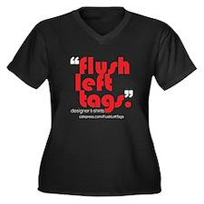 Flush Left Tags Women's Plus Size V-Neck Dark T-Sh
