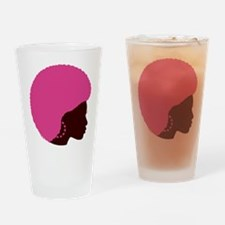 Pink Afro Drinking Glass