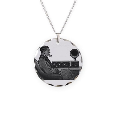 Old Time Radio Listener Necklace Circle Charm