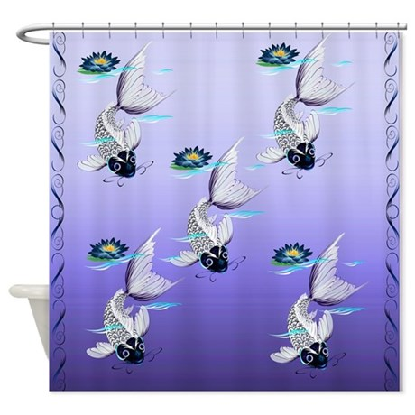 White Koi-Blue Lily Shower Curtain