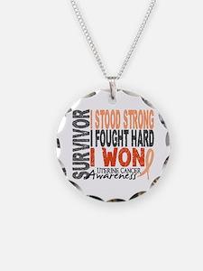 Survivor 4 Uterine Cancer Necklace Circle Charm