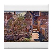 Monet Painting, Bennecourt, 1885, Tile Coaster