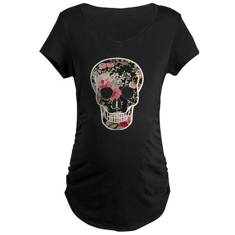 ROSES SKULL Maternity Dark T-Shirt