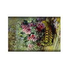 Monet Painting, Flowers in a Pot, Rectangle Magnet