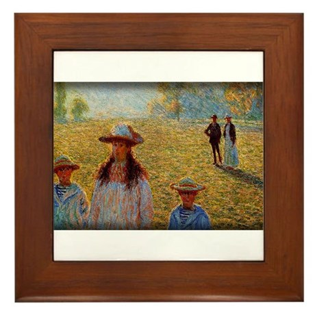 Monet Painting, Landscape at Giverny, Framed Tile