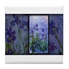 Monet Painting, Lilac Irises, Tile Coaster