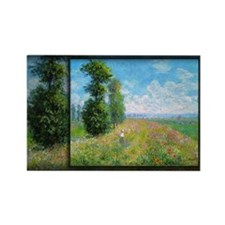 Monet Painting, Meadow with Poplars, Rectangle Mag