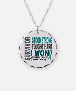 Survivor 4 Ovarian Cancer Shirts and Gifts Necklac
