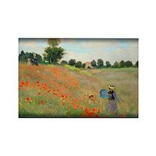Poppies Near Argenteuil, Monet, Rectangle Magnet