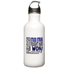 Survivor 4 Colon Cancer Shirts and Gifts Water Bottle