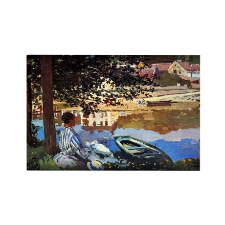 River Scene at Bennecourt, Monet, Rectangle Magnet
