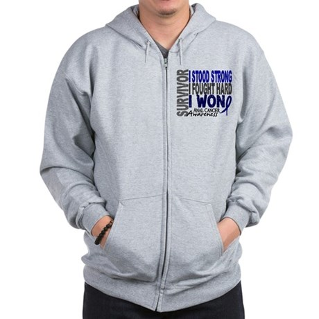 Survivor 4 Anal Cancer Shirts and Gifts Zip Hoodie