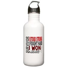 Survivor 4 Lung Cancer Shirts and Gifts Water Bottle