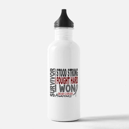 Survivor 4 Brain Cancer Shirts and Gifts Water Bottle